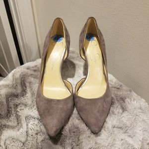Jessica Simpson JP-Livvy Gray Suede Pointed Toe